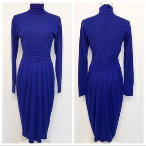 Vintage Kenar 2 Blue Turtleneck Sweater Dress